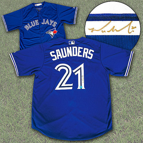 Michael Saunders Autographed Toronto Blue Jays Baseball Jersey Blue Majestic) - Pastime Sports & Games