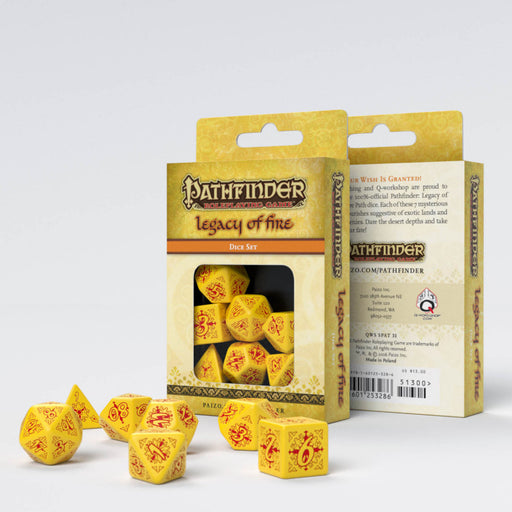 Q-Workshop Pathfinder 7pc RPG Dice Set Legacy of Fire - Pastime Sports & Games