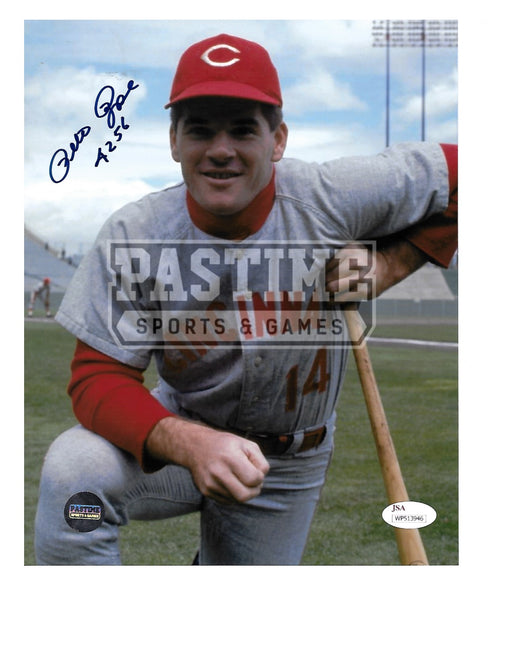 Pete Rose Autographed 8X10 Cincinnati Reds (Pose 1) - Pastime Sports & Games