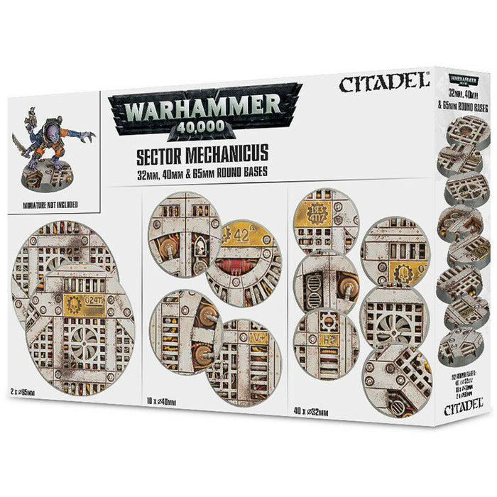 Warhammer 40,000 Citadel Sector Mechanicus Bases 32mm, 40mm & 65mm Round (66-95) - Pastime Sports & Games