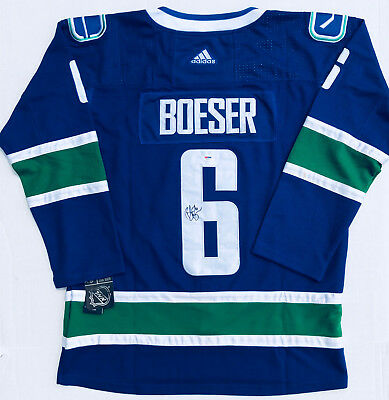Brock Boeser Autographed Vancouver Canucks Hockey Jersey (Blue Adidas)