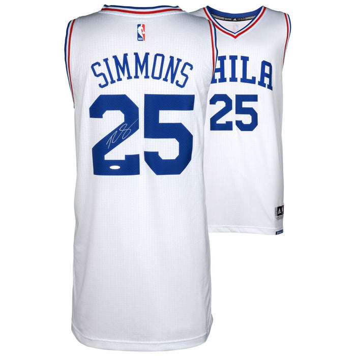 Ben Simmons Autographed Basketball Jersey (White Adidas) - Pastime Sports & Games