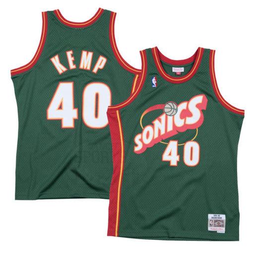 1995/96 Shawn Kemp Seattle Super Sonics Home Basketball Jersey (Dark Green Mitchell & Ness) - Pastime Sports & Games