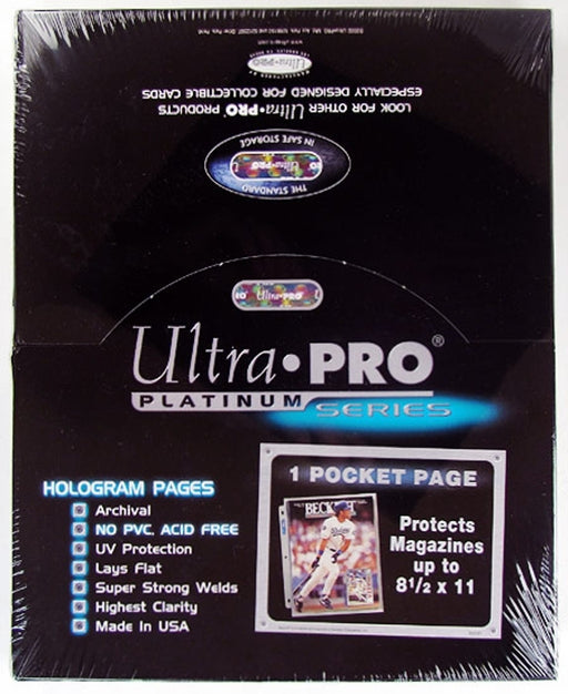 Ultra Pro Platinum Series 1 Pocket Magazine Page - Pastime Sports & Games
