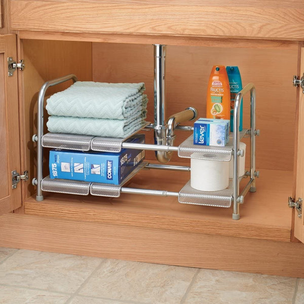 This InterDesign Cabrini under sink shelf is made from powder coated metal, offering great weight capacity and long-lasting rust resistance for the bathroom.