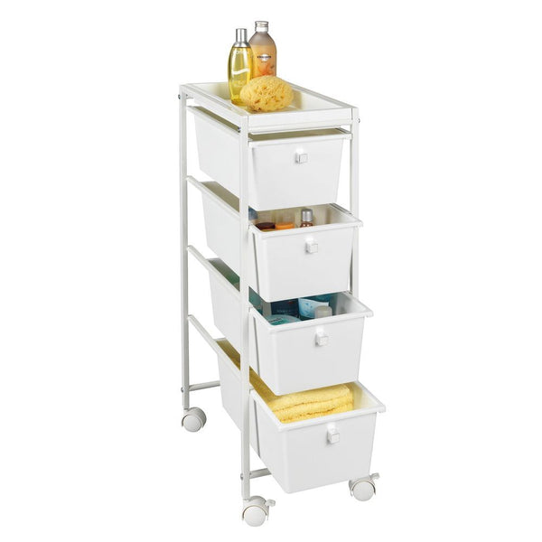 A slim storage trolley is a great way to make extra bathroom storage space if your under sink cupboards are full.