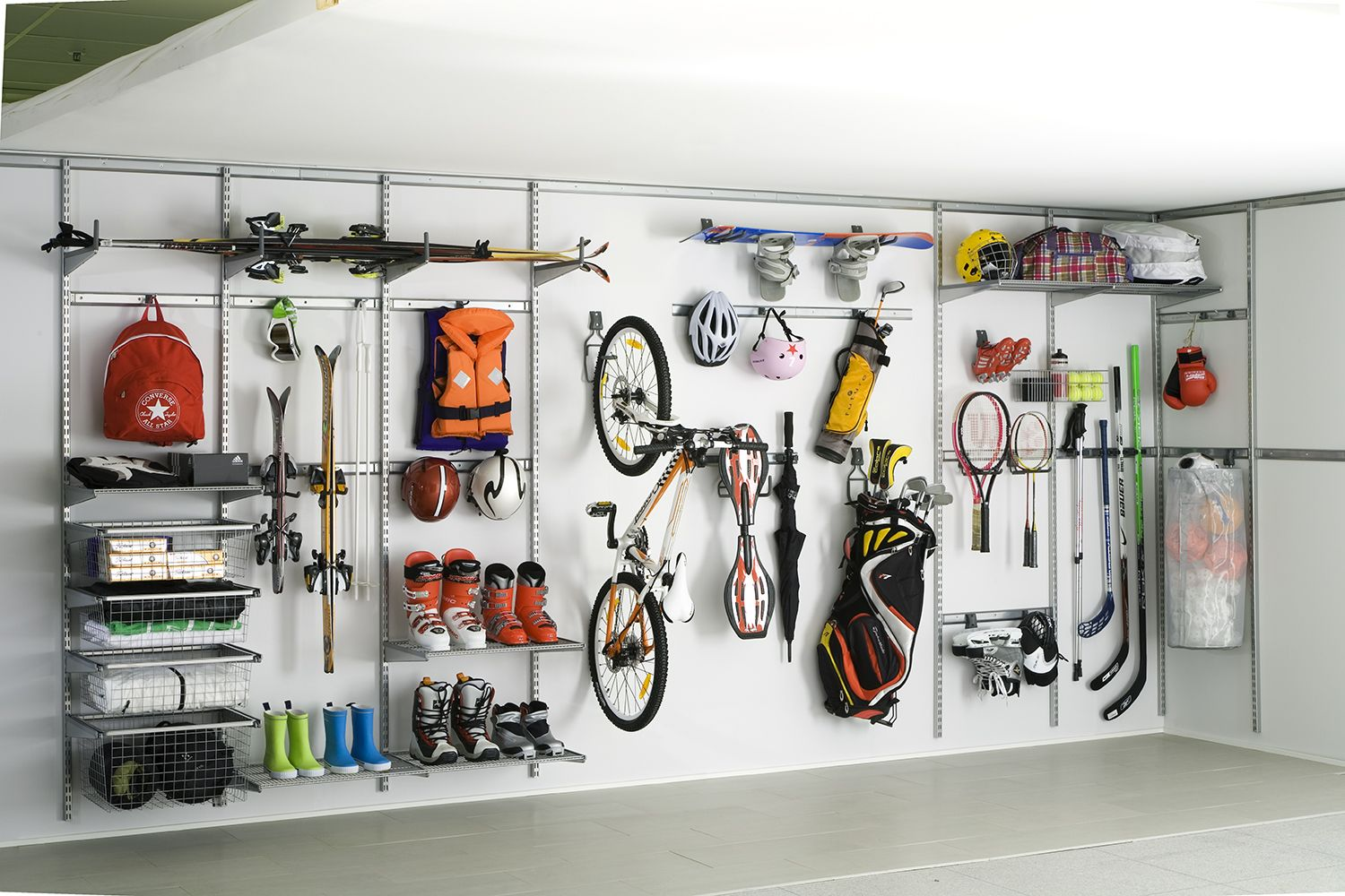 Customised Elfa shelving for sports equipment