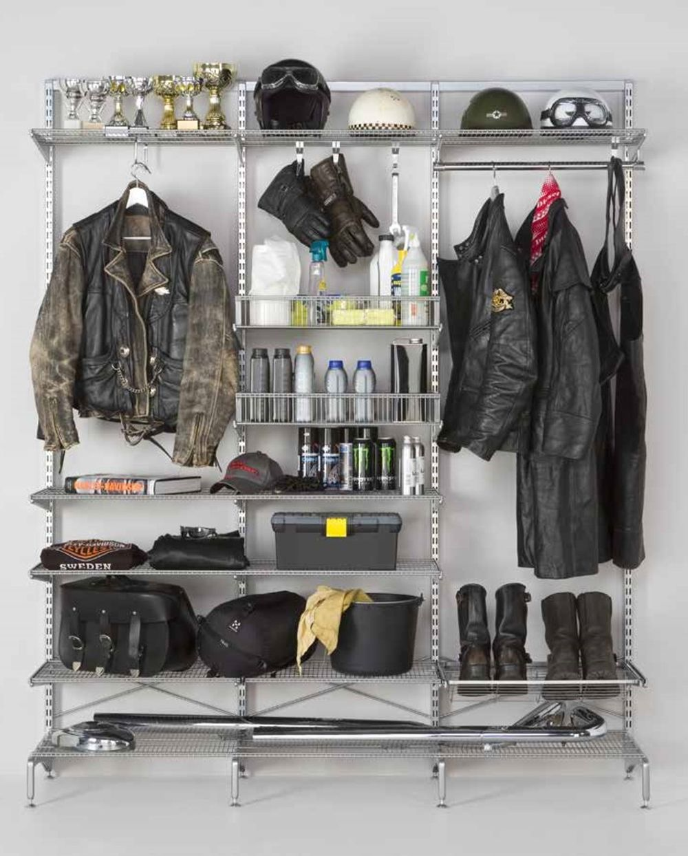 Motorcycle display shelving