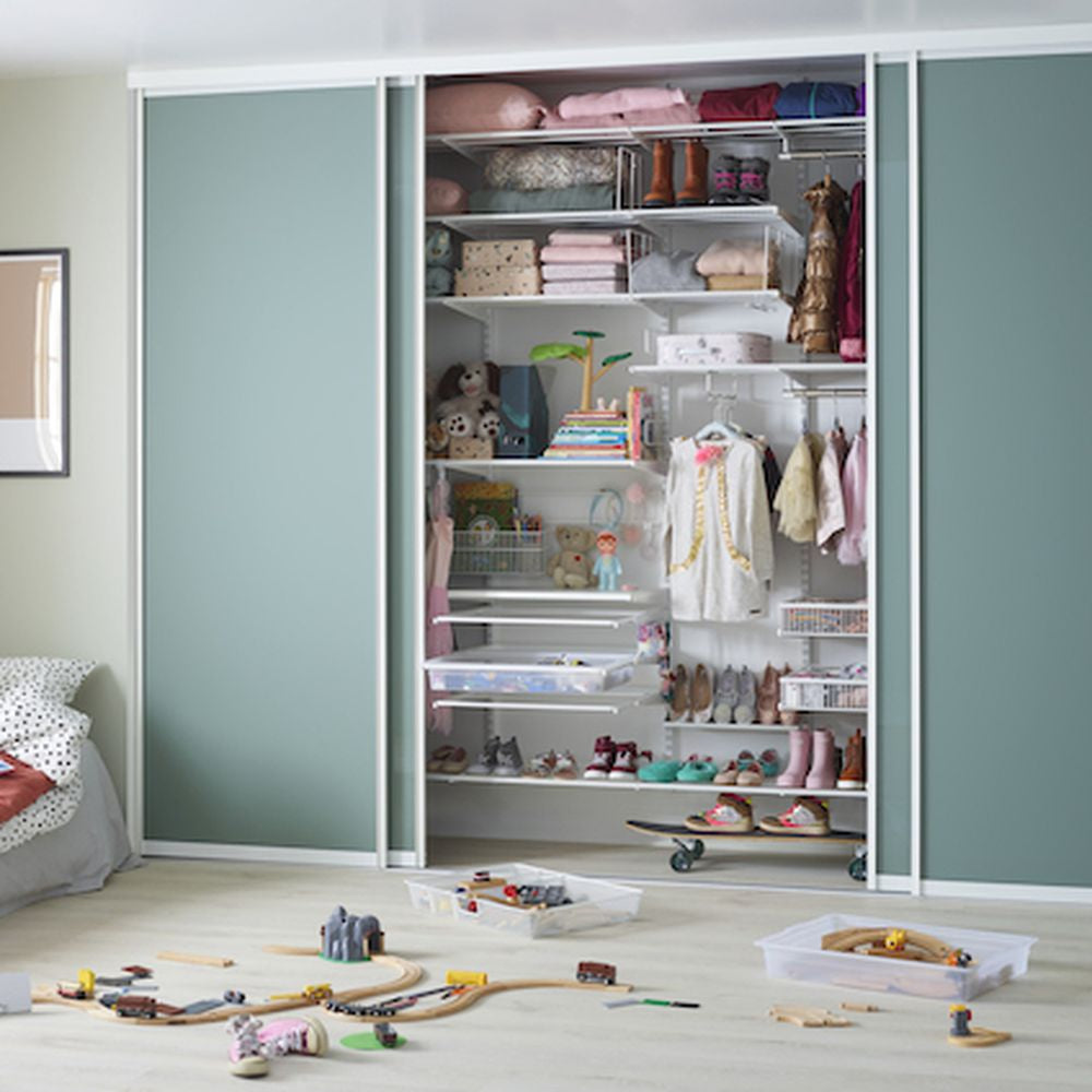 Elfa Storage in a closet for the kids.