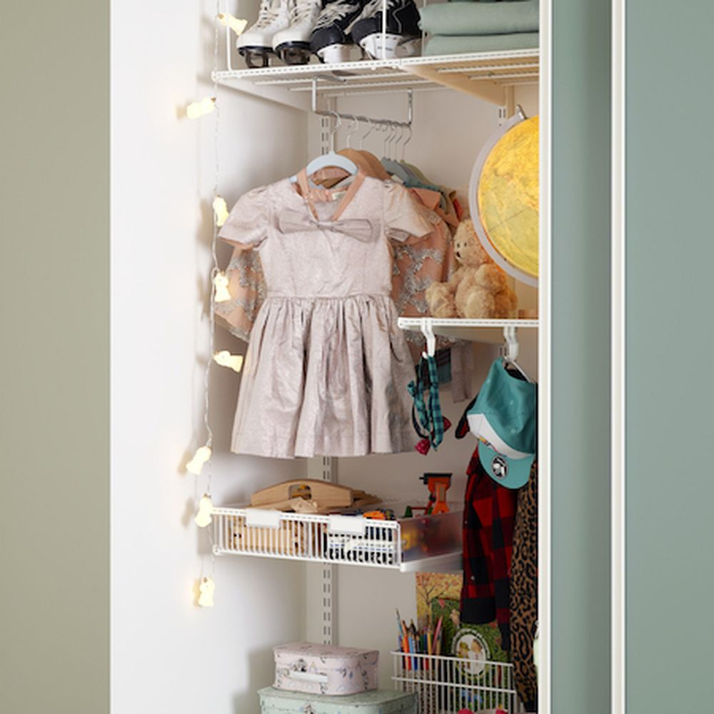 Kids dresses in the Elfa shelving system