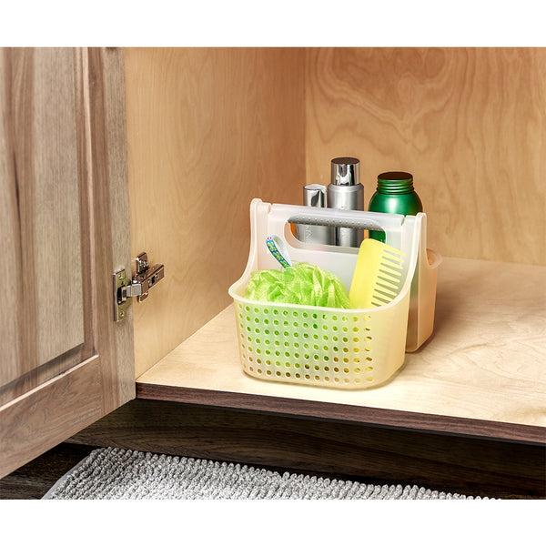 This soft handled storage basket from Madesmart has an integrated handle that makes it easy to access your shower or cleaning supplies.