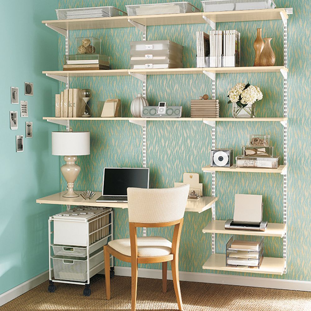 Beautiful office display with Elfa shelving