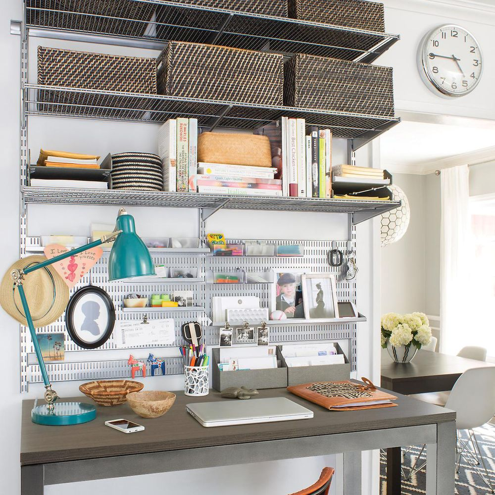 CLever office configuration with the Elfa Shelving System