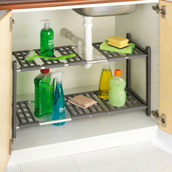 Using an adjustable under the sink shelf is a great way to maximise your bathroom storage.