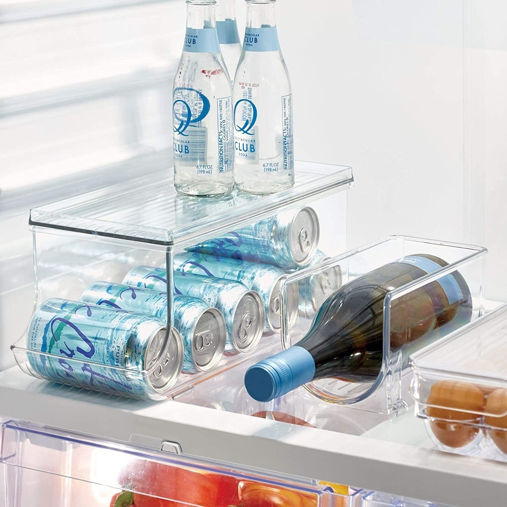 fridge can organisers will store and dispense soft drink and beer cans, as well as food tins. stack these up to maximise storage space.