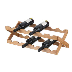 12 Bottle Folding Bamboo Wine Rack - WINE - WINE RACKS - Soko & Co