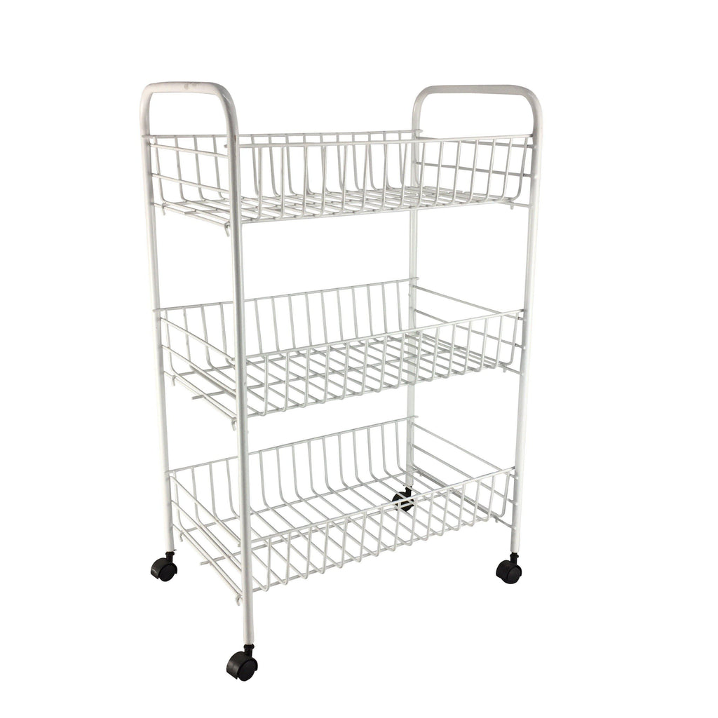 3 Tier Wire Trolley with Castors White - FURNITURE - TROLLEYS & CABINETS - Soko & Co