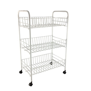 3 Tier Wire Trolley with Castors White - Soko & Co