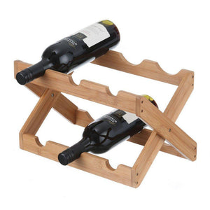6 Bottle Folding Bamboo Wine Rack - WINE - WINE RACKS - Soko & Co