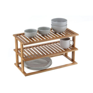 Bamboo 2 Tier Rectangle Shelf - KITCHEN - STORAGE & ORGANISERS - Soko & Co