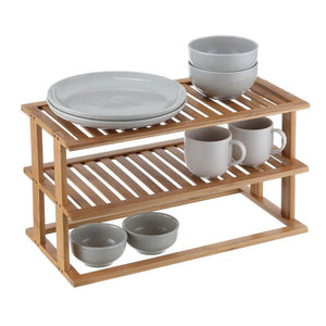 Bamboo 2 Tier Rectangle Shelf - Soko & Co