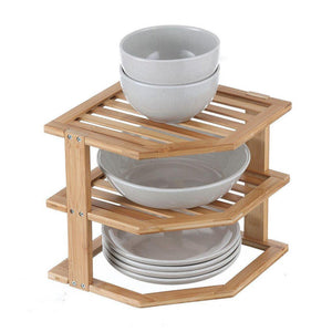 Bamboo Plate Stacker - KITCHEN - STORAGE & ORGANISERS - Soko & Co