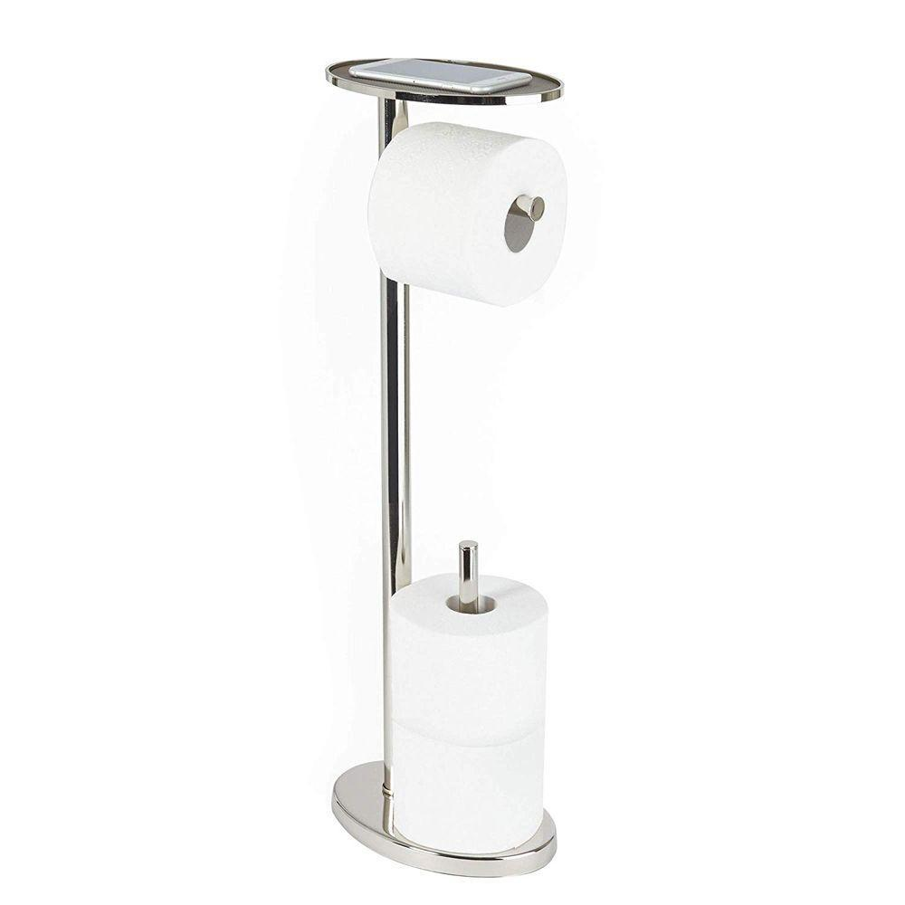 Ovo Toilet Caddy Chrome - BATHROOM - TOILET BRUSH & ROLL HOLDERS - Soko & Co
