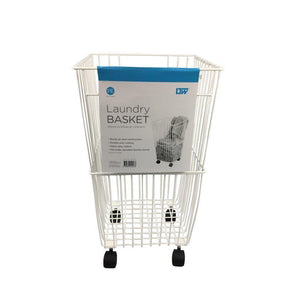 Wire Laundry Hamper with Castors White - Soko & Co