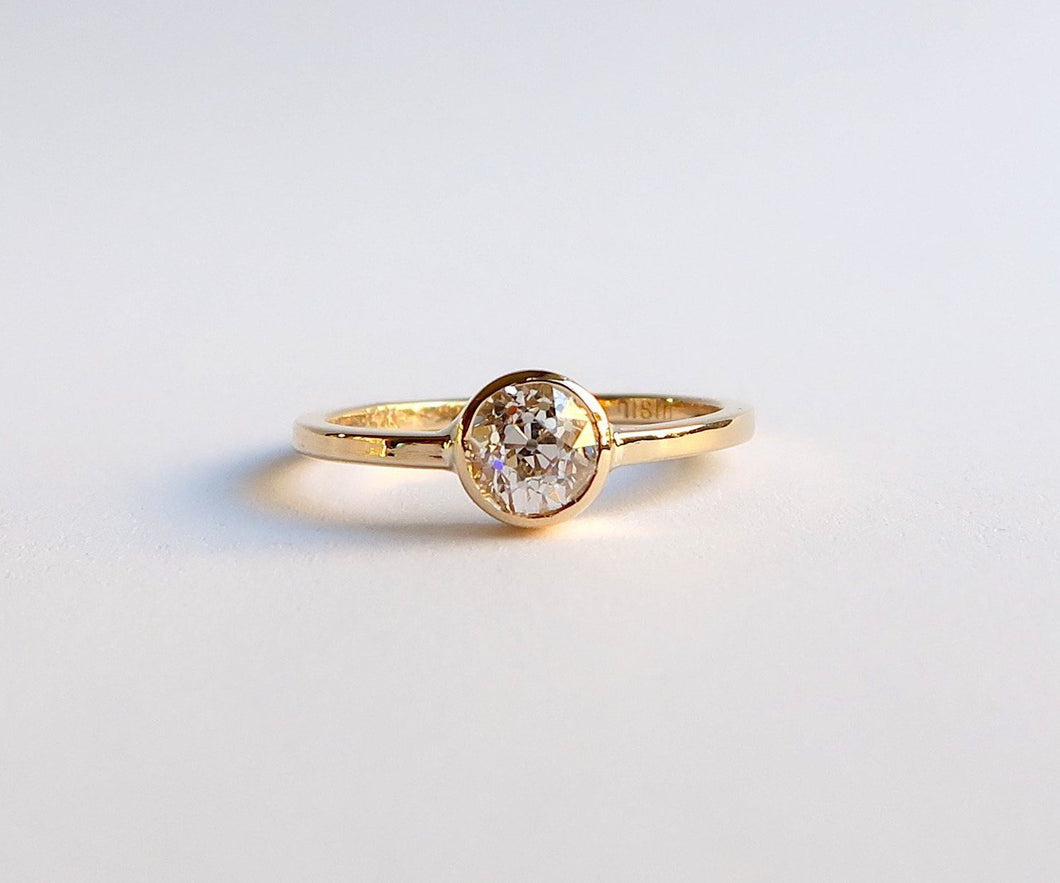 Nishi Old Mine Cut Bezel Set Diamond Solitaire Gold Ring