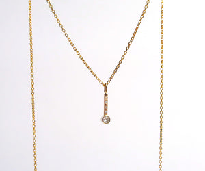 Nishi Bezel Stick Diamond Pendant Necklace
