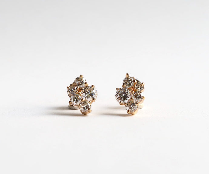 Nishi 5 Stone Diamond and Gold Cluster Studs