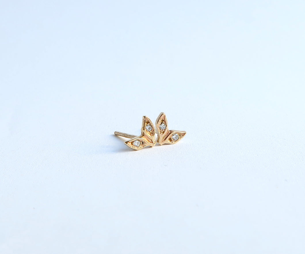 Nishi Double Leaf Diamond Studs
