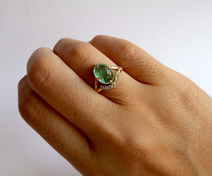 Nishi Emerald Cabochon and Diamond Gold Ring
