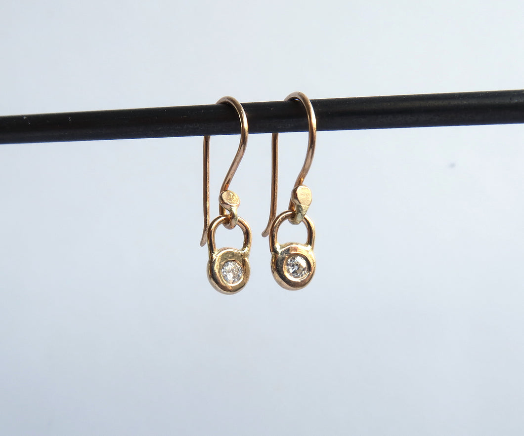 Gold Frame Diamond Earrings