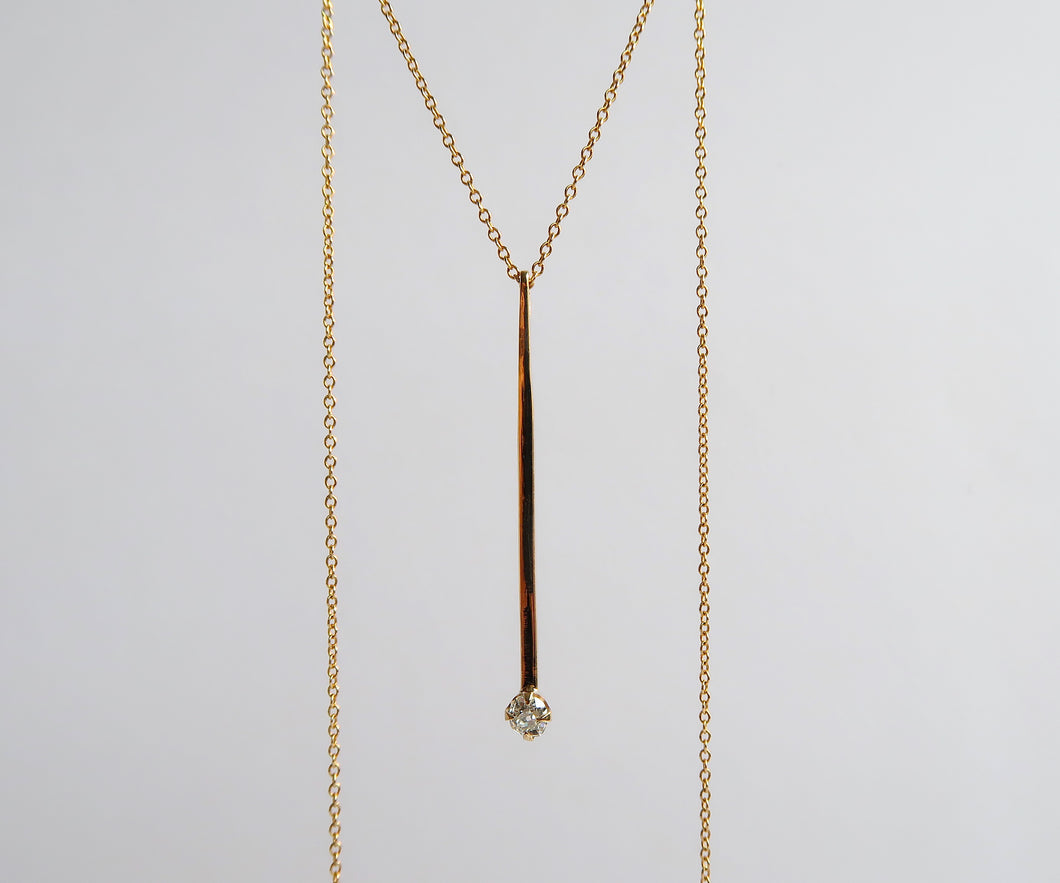 Matchstick Old Mine Cut Diamond Necklace