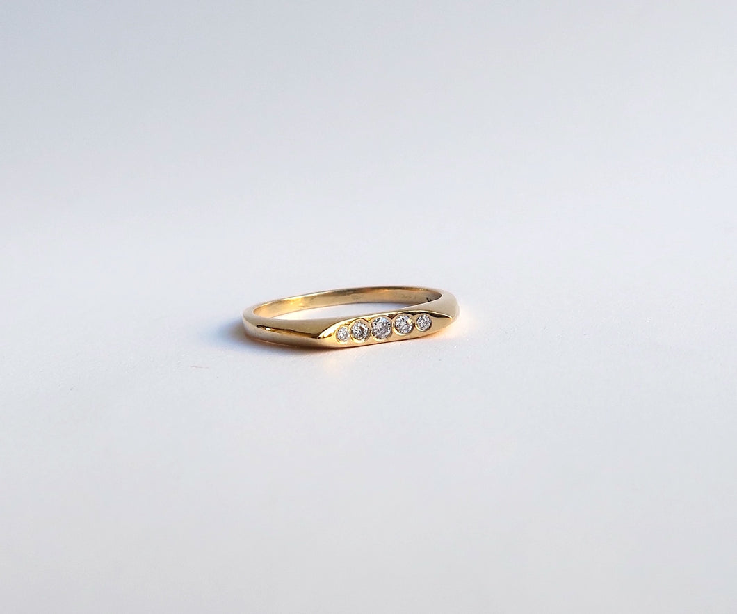 Nishi Nela Diamond Geometric Gold Band