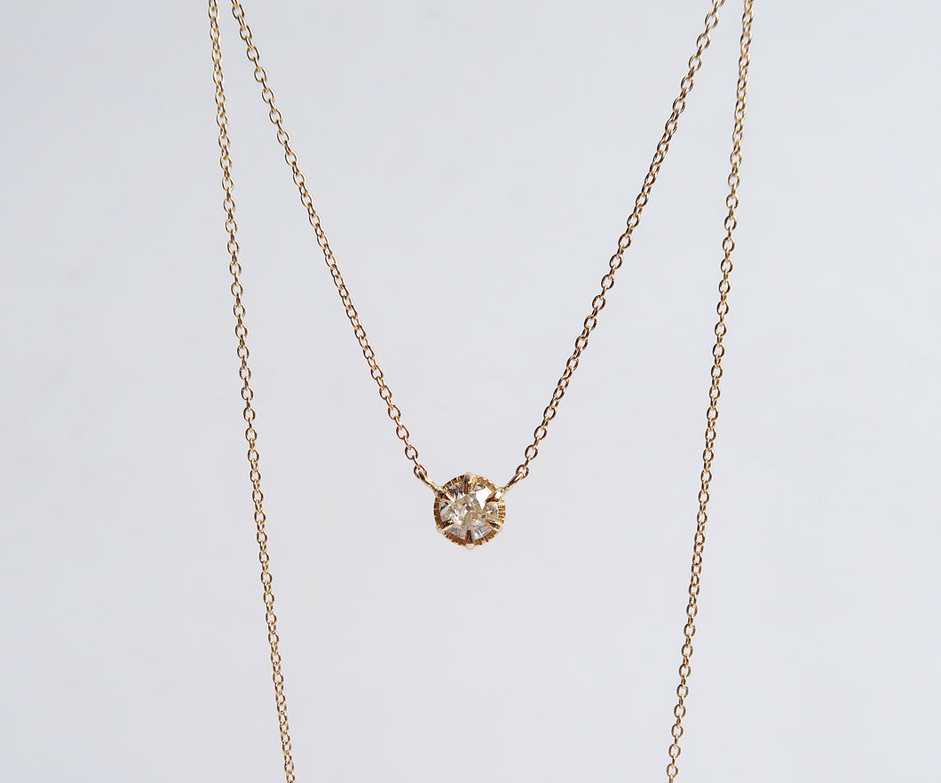 Old European Cut Diamond Solitaire Necklace