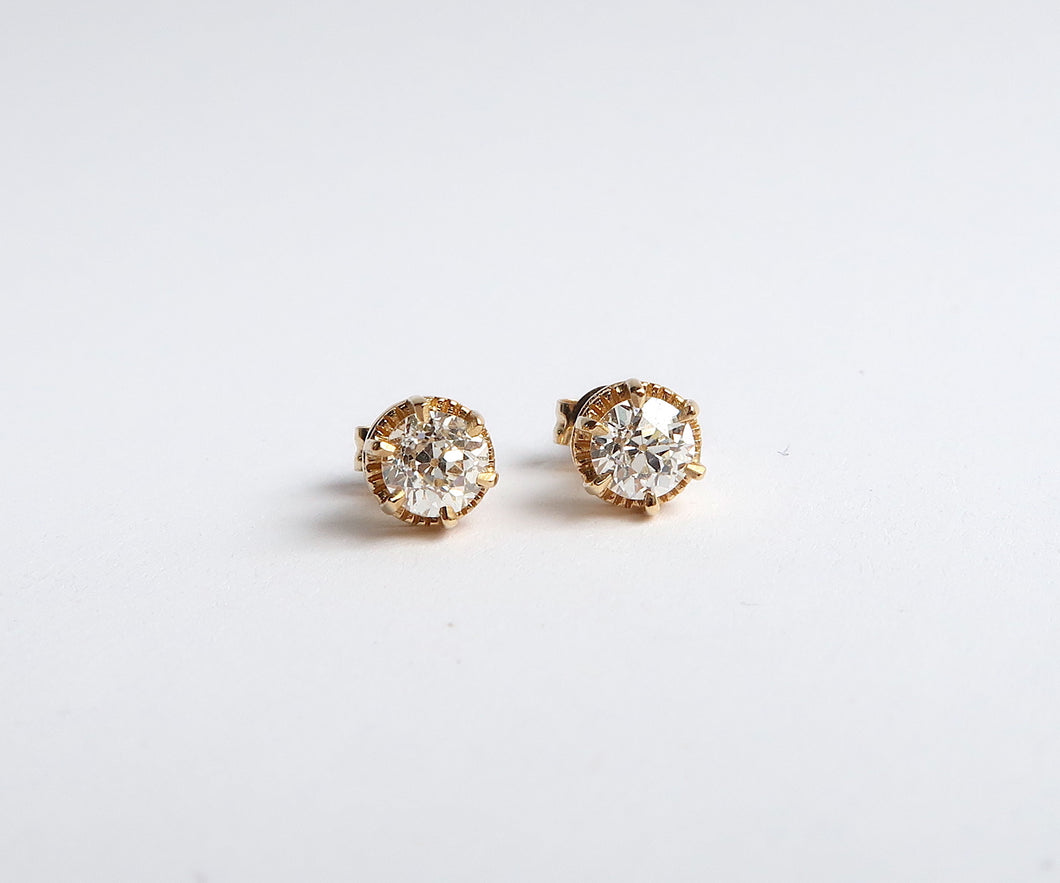 Old European Cut Diamond Six Prong Studs