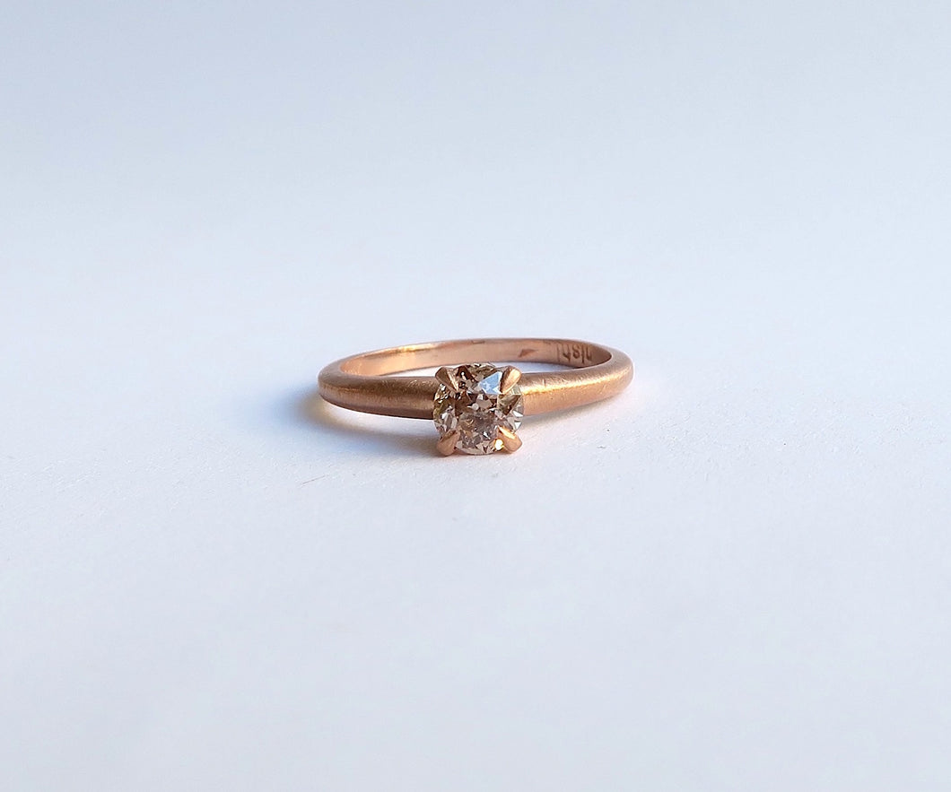 Nishi Old Mine Cut Diamond Brown Rose Gold Ring