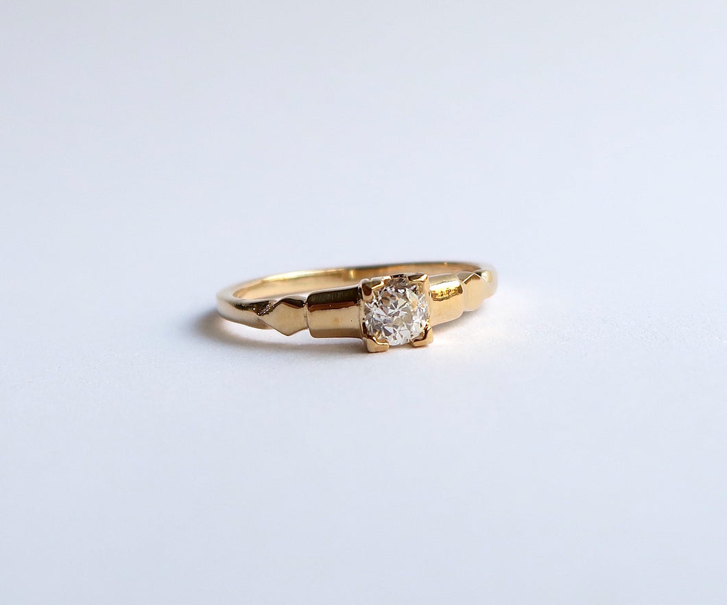 Nishi Old Mine Cut Diamond Frame Gold Ring