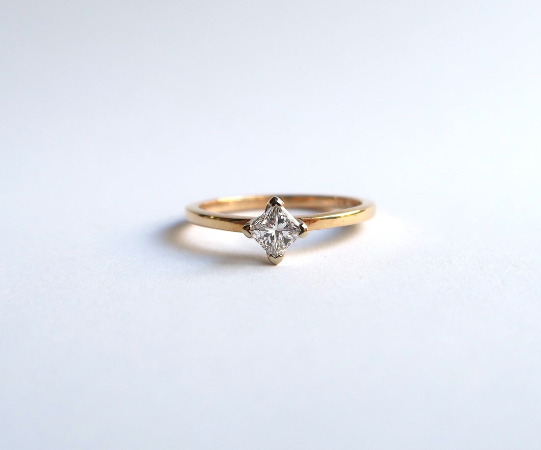 Nishi Princess Cut Diamond Solitaire Yellow Gold Ring