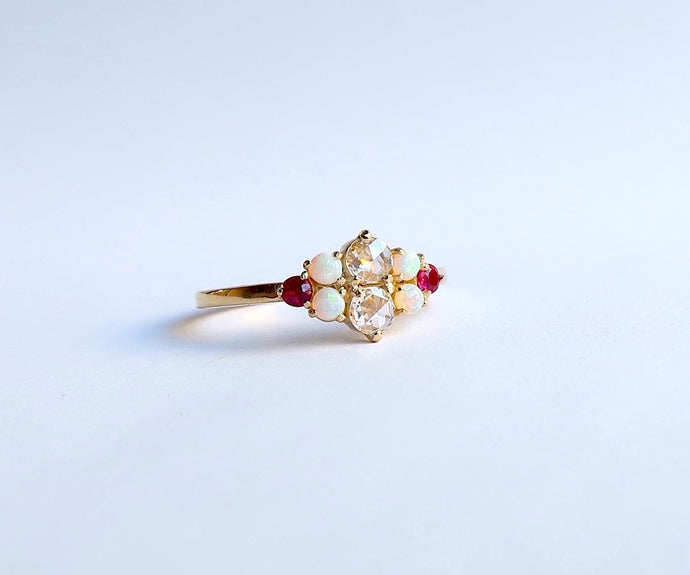 Nishi Rose Cut Diamond Opal and Ruby Yellow Gold Ring