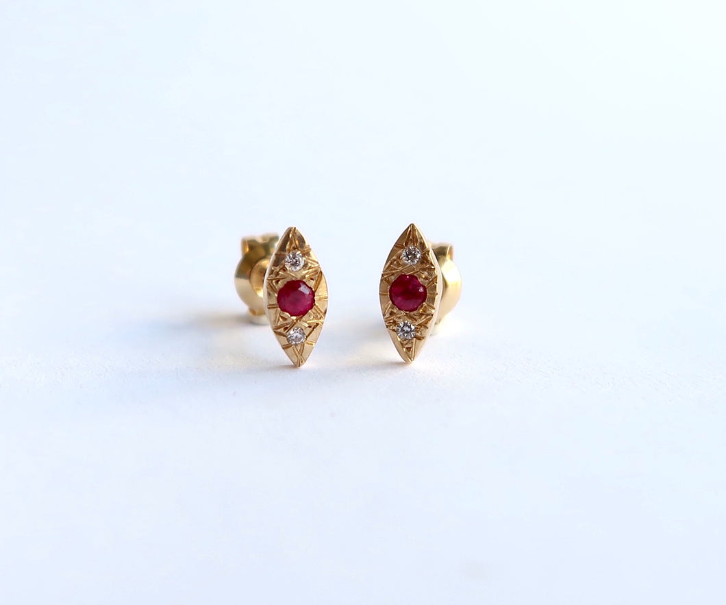 Nishi Ruby and Diamond Kite Yellow Gold Studs