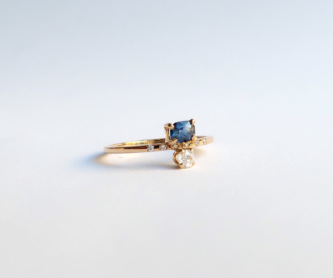Nishi Sapphire and Old Mine Cut Diamond Gold Ring