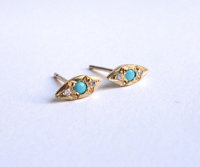 Nishi Turquoise and Diamond Kite Yellow Gold Studs