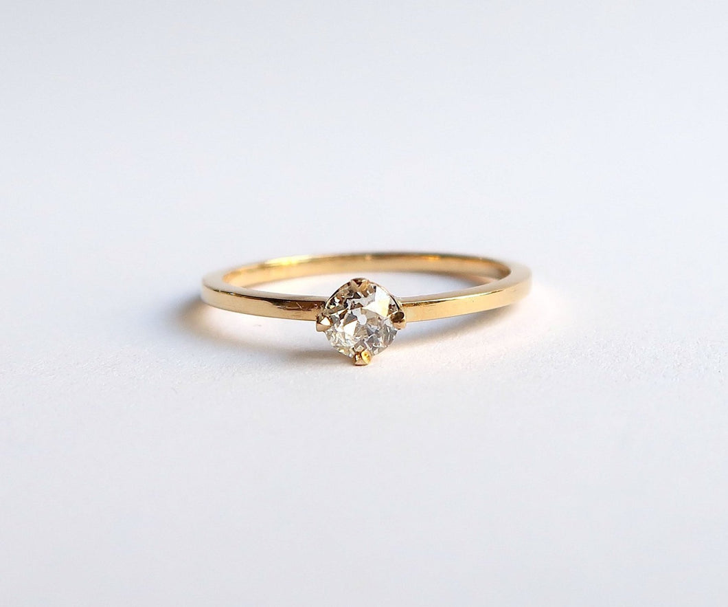 Nishi Old Mine Cut Diamond 0.25ct Yellow Gold Solitaire Ring