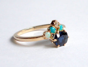 Natural Sapphire, Diamond, Turquoise and Opal Ring, Engagement Ring, Wedding Band, 14K Yellow Gold
