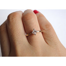 Load image into Gallery viewer, Nishi Princess Cut Diamond Solitaire Yellow Gold Ring
