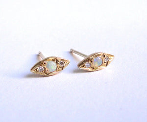 Nishi Opal and Diamond Kite Studs Yellow Gold