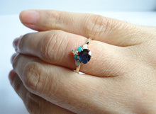 Load image into Gallery viewer, Natural Sapphire, Diamond, Turquoise and Opal Ring, Engagement Ring, Wedding Band, 14K Yellow Gold